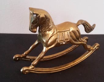 Vintage  Mid-Century Solid Brass Rocking Horse/Statue/Art/Desk Decor