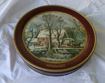 Currier and Ives Old Grist Mill Cookie Red Tin Christmas Container