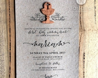 Rustic First Holy Communion Invitation // Rustic // 120 x 180mm