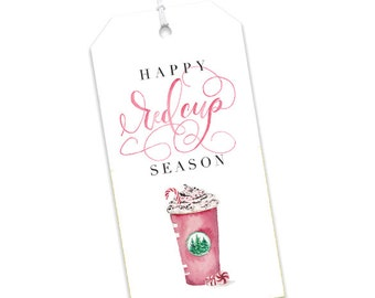 Christmas Gift Tag | Happy Red Cup Season Gift Tag | Cute Hanging Tag | Watercolor Coffee Tag | To From Gift Tag | Starbucks Gift