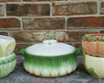 FREE SHIPPING Ceramic Onion Covered Casserole or Tureen with matching Handled Bowls