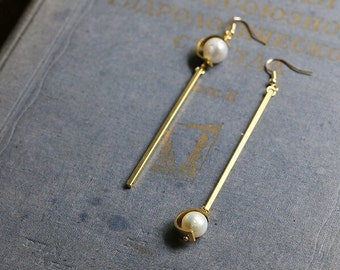 Natural Ivory Pearl Gold Earrings - Real Pearl Dangle Earrings - Gift for Her
