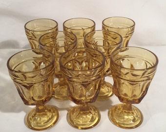Set of 8 - Anchor Hocking Wine Glasses in Fairfield - Amber / Honey gold glass