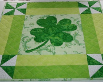 Handmade Quilted St. Patrick's Day Wall Hanging/Mini Quilt or Table Topper