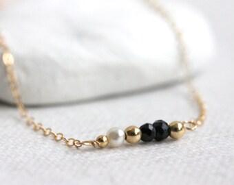 Multi Gemstone Necklace, Mixed Gemstones, Gold Filled Chain, Gem Bar, Black Spinel, Freshwater Pearls