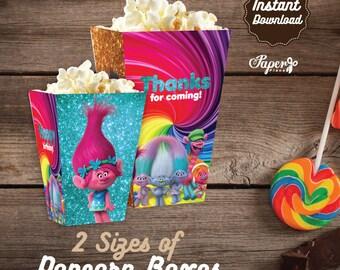 Trolls Popcorn Box, Printable Trolls Popcorn Boxes, Trolss Birthday decoration, instant download, Trolls Party