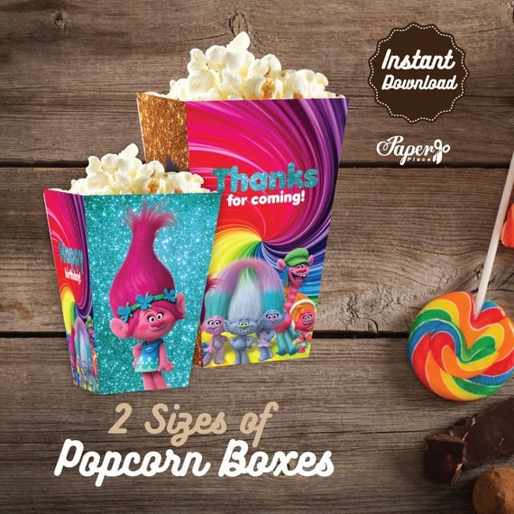 Trolls Printable Popcorn Box