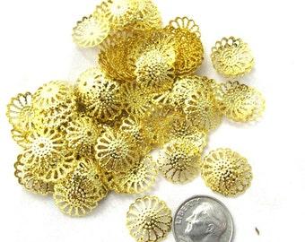 100 Gold Tone Filigree Bead Caps 13mm (s16f)