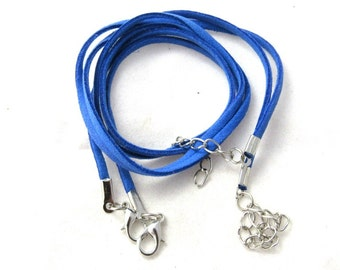 """2 Faux Suede Cord Necklaces with Lobster Clasps 17.7"""" Dark Blue (B150a7)"""
