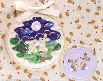 Moon Gazing Bunnies Cross Stitch Pattern PDF | Easy | Modern | Beginners Counted Cross Stitch | Instant Download