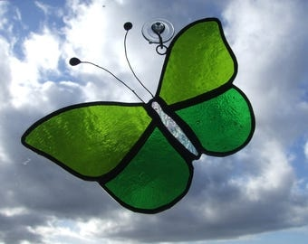 Stained Glass Butterfly Suncatcher in Greens
