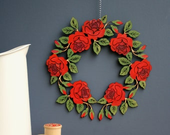 Rose wooden wreath