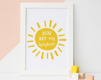 You Are My Sunshine wall art, Nursery Print, Mothers Day, Sunshine Art, Yellow Nursery Decor, Kids Wall Art, Illustration Print,