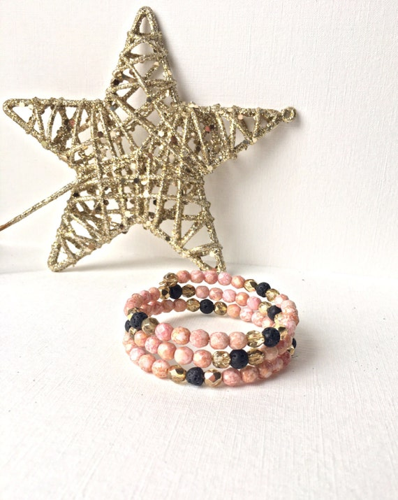 Essential Oil Diffuser Wrap Bracelet -  Memory wire bracelet -Black lava rock with gold and pink/tan faceted czech beads