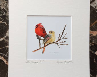 Cardinal print, cardinal art, cardinal pair, bird print, red bird, bird home decor, bird art, wall art, birds, anniversary gift, shower gift