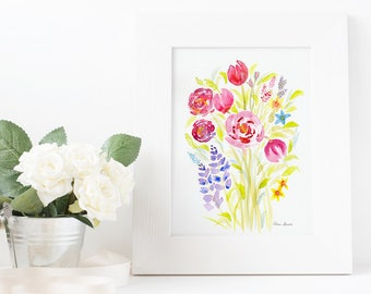 Watercolor Bouquet, Art, Watercolor, Original Painting, 11x14, florals, Mother's Day gift, housewarming gift, birthday gift, anniversary