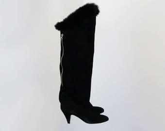 Vintage 80's Knee-high Black Suede Boots Fur Trim