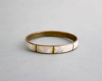 Vintage brass / mother of pearl bangle bracelet / bangle
