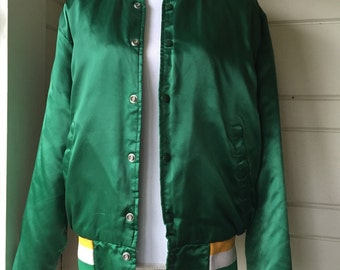 Vintage Swingster Green Satin Bomber Jacket
