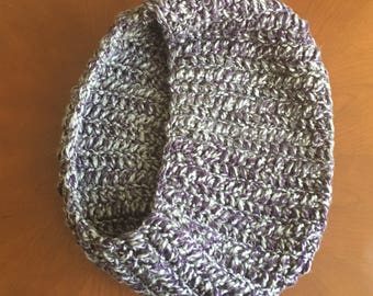 Chunky purple and gray cowl neck scarf, chunky scarf, crocheted scarf, women's scarf, multicolored