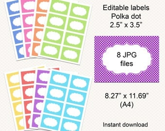 Editable Polka dot labels. Address labels. Food labels. Buffet labels. Food cards. Buffet cards. Instant download