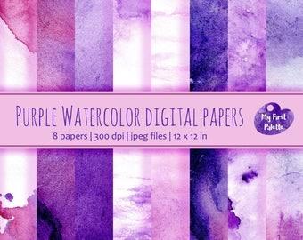 Purple Watercolor Digital Paper Clip Art. Set of 8 JPG watercolor backgrounds / digital papers. Printable. Instant download, 300 dpi