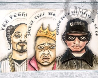 Rapper art Print set // Rapper Hall of Fame Collection // Snoop Dogg // Eazy-E // Biggie // quote art print