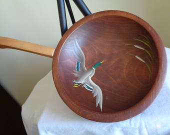 Vintage MUNISING 3-Footed Oval Wooden Bowl With Handle Hand Painted MALLARD DUCK Decoration