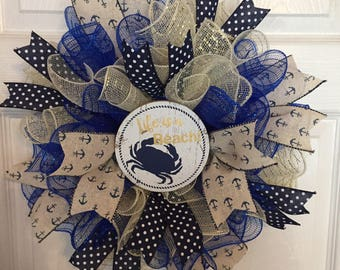 """17"""" Nautical/Beach/Summer Deco Mesh Wreath with """"Life is a Beach"""" Sign in Blue Navy and Tan"""