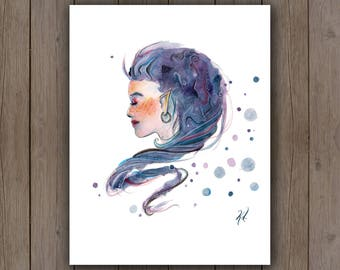 Watercolour Art Print - Elf Fairy Woman Portrait / Blue Purple Hair / Fantasy Abstract Splatter Handpainted Watercolor Painting / Gift Ideas