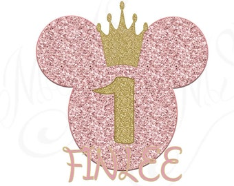 Personalized Minnie Mouse Pink Birthday Gold Glitter Heart 1st 2nd Birthday Iron On Digital Art Graphic Party