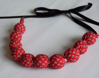 Handmade Fabric Bead necklace - Ditsy Daisy Red - jewellery