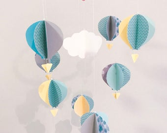 Nursery mobile, hot air balloons, baby mobile, triangle baskets, pastel, hanging decoration, nursery decor, cardstock mobile, custom made.