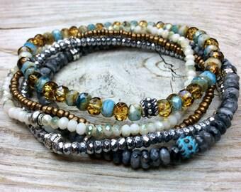 Labradorite bracelet,czech glass bracelet,silver plated hematite, beaded stone stacking stretch bracelets.multistrand bracelet gemphilia1