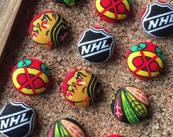 Thumb Tacks made from Chicago Blackhawks Fabric, Push Pins, Thumbtacks, Sports Decor, Ice Hockey Gifts, Hockey Decor, Chicago Sports Art
