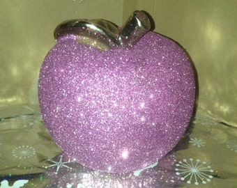 Hand Glittered Dusky Pink glittered apple