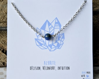 Azurite necklace stainless steel