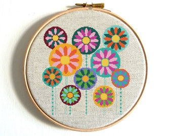 Floral Cross Stitch, Flower Cross Stitch Pattern, Modern Colorful Embroidery Chart, Printable PDF, Baby Decor Birthday Gift Funny and Easy