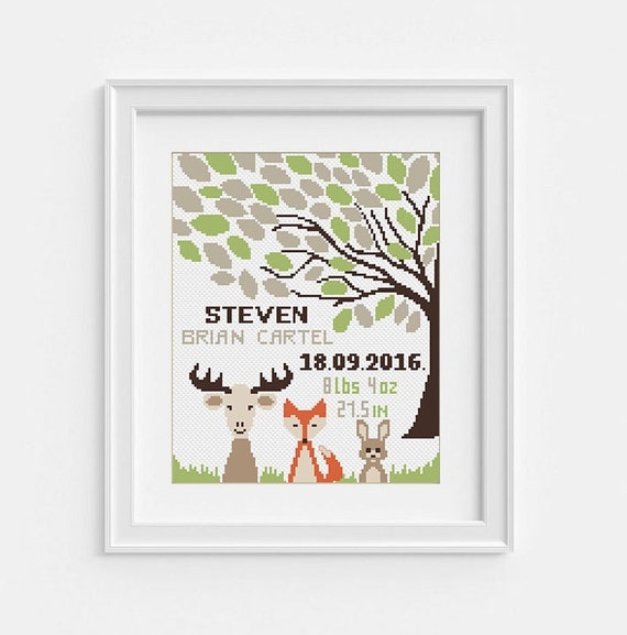 Baby Announcement Cross Stitch Pattern Nursery personalized Pdf pattern Baby Boy Newborn Shower gift Animal Fox Bunny Rabbit Geer Tree Life