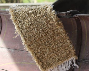 Rustic Toilet Tank Runner, Table Runner handwoven oatmeal with white fringe