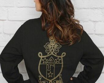 Quarter Zip Delta Gamma Sweatshirt in Black