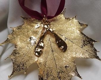 24kt Gold Sugar Maple Leaf Ornament w/Seeds