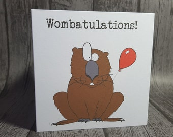 "Wombat animal pun ""Wombatulations!"" Congratulations funny customisable card by Relephant Cards. Handmade, square, white, blank with envelope"