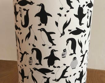 Penguin black and white / monochrome table lamp / nightlight