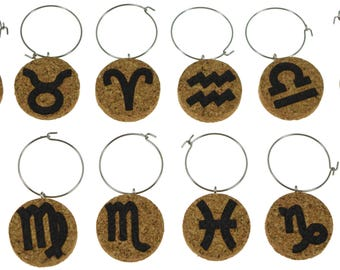 Zodiac Cork Wine Glass Charms- Set of 12 - Zodiac Sign Designs - Cork Tags to Mark Your Drinks