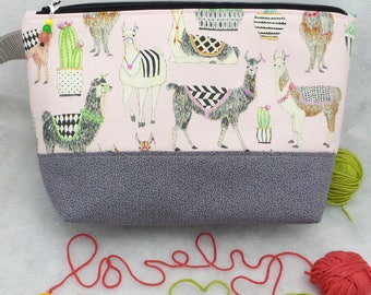 LLama Two Compartment Knitting Bag, Knitting Tote, Knitting Bag, Crochet Project Bag, Knitting Project Bag
