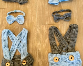 Crochet diaper cover set with newsboy hat , suspenders, and bow tie, baby shower gift, newborn photo prop, twin gift