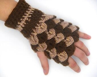 Crocodile stitch mittens wool bicolor / Dragon stitch bicolor wool mittens, handmade, color Brown and old rose, fingerless glove