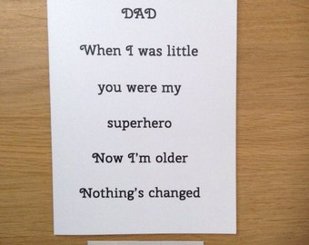 Father's Day card, blank card for dad, card for dad's birthday, dad is my superhero card