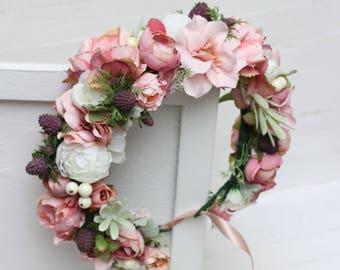 Pink white flower crown Peony rose floral crown Boho wedding Bridal headband Flower halo Bridesmaid hair wreath Floral headpiece